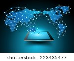 world map connection with... | Shutterstock .eps vector #223435477