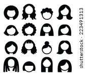 hair styles  wigs icons set  ... | Shutterstock .eps vector #223491313