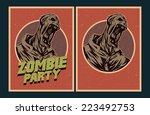 halloween poster. zombie party... | Shutterstock .eps vector #223492753