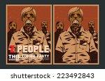 halloween poster. zombie party... | Shutterstock .eps vector #223492843