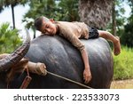 Thailand Kid Farmer Sleeping...