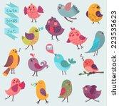 cute cartoon birds set. vector... | Shutterstock .eps vector #223535623