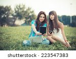 beautiful hipster young women... | Shutterstock . vector #223547383