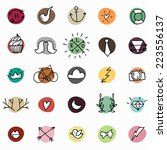 hipster icon set on bright...