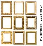 set 9 of vintage gold frame... | Shutterstock . vector #223558627