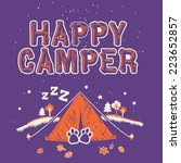 Happy Camper Tshirt Screen Print