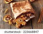 christmas homemade gingerbread...   Shutterstock . vector #223668847