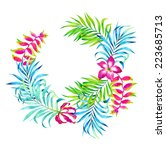 tropical floral wreath bouquet  ... | Shutterstock . vector #223685713