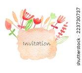 invitation watercolor hand drawn   Shutterstock . vector #223730737