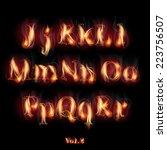 fire burning latin alphabet...