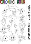 cartoon vegetable coloring book
