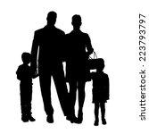 vector silhouette of family on... | Shutterstock .eps vector #223793797