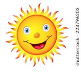Cheerful Bright Sun With A Big...