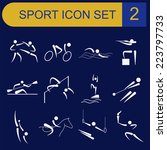sport icon set. flat style.... | Shutterstock .eps vector #223797733