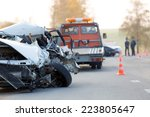 crashed car automobile... | Shutterstock . vector #223805647