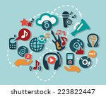 flat vector music icon set for... | Shutterstock .eps vector #223822447