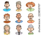 set of nine smiling cartoon... | Shutterstock .eps vector #223853707