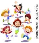 happy jumping kids | Shutterstock .eps vector #223875343