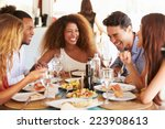 Group Young Friends Enjoying Meal - Fine Art prints