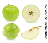 Small photo of Green apple collection isolated on white background (set)
