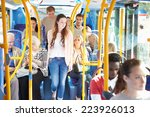 interior of bus with passengers | Shutterstock . vector #223926013