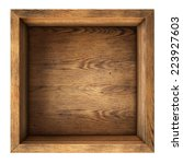 Old Wood Box Top View Isolated...