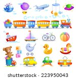 a variety of children's toys  | Shutterstock .eps vector #223950043