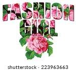 fashion girl  vintage college... | Shutterstock .eps vector #223963663