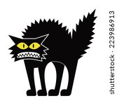 Vector Cartoon Black Cat...