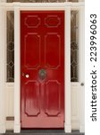 Red Front Door With White Door...