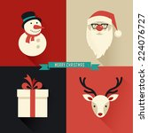 christmas background with... | Shutterstock .eps vector #224076727