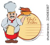 vector cartoon chef with menu | Shutterstock .eps vector #224083387