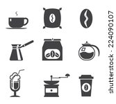 coffe  modern trendy silhouette ... | Shutterstock .eps vector #224090107