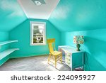 small bright turquoise room... | Shutterstock . vector #224095927