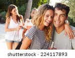 couple with friends drinking... | Shutterstock . vector #224117893