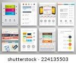 set of flyer  brochure design... | Shutterstock .eps vector #224135503