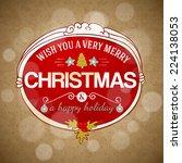 typography vector xmas hand... | Shutterstock .eps vector #224138053