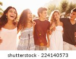 group of teenage friends... | Shutterstock . vector #224140573