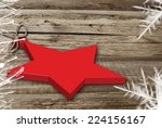 One Christmas Red Star On Wood...