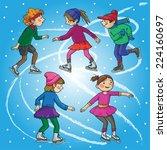 children skating. christmas... | Shutterstock .eps vector #224160697