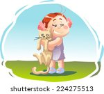 little girl holding her cat | Shutterstock .eps vector #224275513