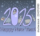 new year card with cute cartoon ... | Shutterstock .eps vector #224291983