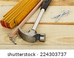 hammer  nails  ruler and pencil ... | Shutterstock . vector #224303737