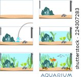 stages of creating an aquarium | Shutterstock .eps vector #224307283
