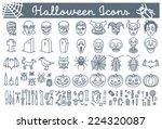 big set of halloween line icons ... | Shutterstock .eps vector #224320087