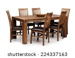wooden brown table and six...