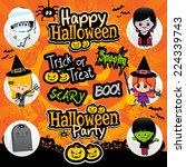 Halloween Text And Icons On A...
