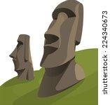 moai monolithic statues... | Shutterstock .eps vector #224340673