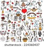 set of wedding doodle template... | Shutterstock .eps vector #224360437