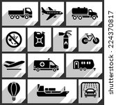 transport black icons on white... | Shutterstock .eps vector #224370817